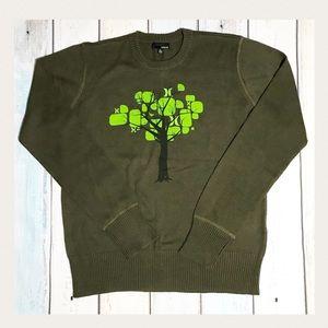 Dark Green Hurley Sweater Tree &  Bird Design Sz L